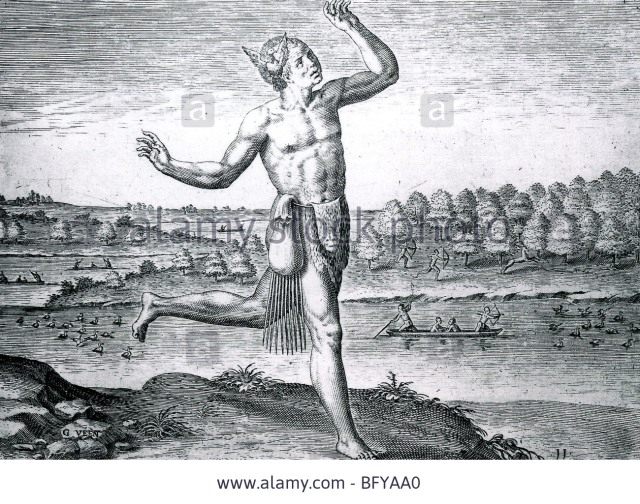 the-noble-savage-engraving-based-on-drawing-by-john-white-during-an-bfyaa0